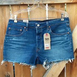 Nwt levis button fly cut off denim shorts size 32